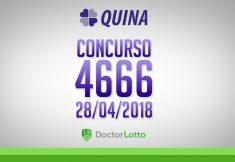 QUINA 4666 | RESULTADO 28/04/2018