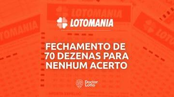 fechamento de 70 dezenas na Lotomania