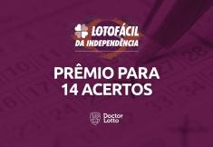 14 números Lotofácil Independência